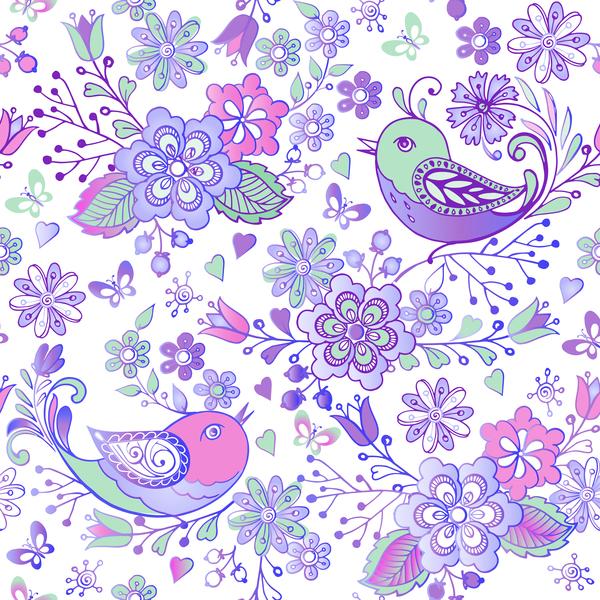uccelli senza soluzione di continuità modello fiori Carina