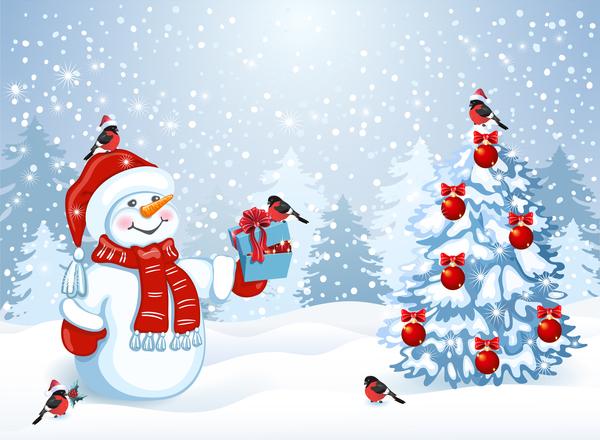 träd Söt snögubbe jul
