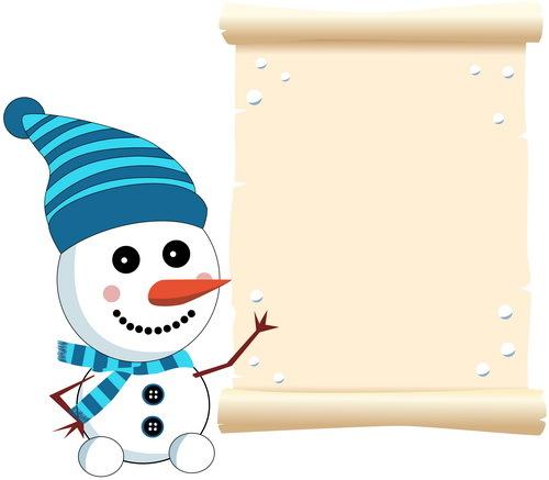 parchemins papiers Mignon bonhomme de neige