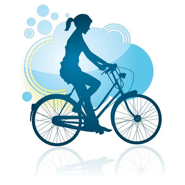 sagoma ragazza escursioni in bicicletta