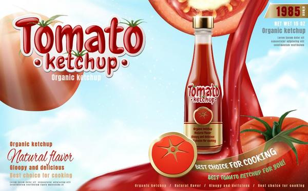tomates poster ketchup delicious