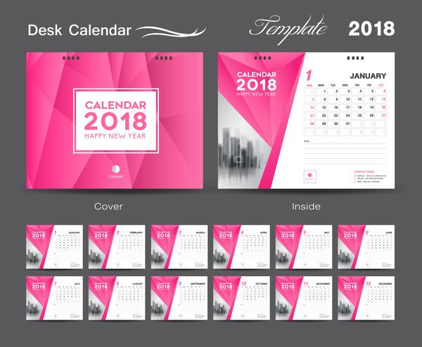 Schreibtisch pink Kalender decken 2018