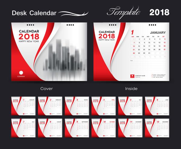 赤 デスク カバー 、2018 年カレンダー