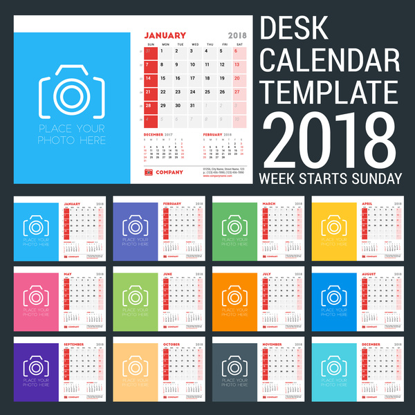 scrivania calendario 2018
