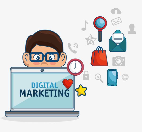 digital marketing business flat template vettoriale 08 welovesolo welovesolo