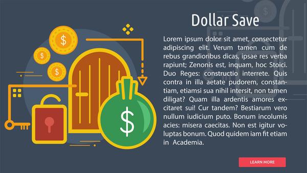 salvare Dollaro concettuale banner
