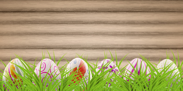 postcard green grass eggs easter decorated