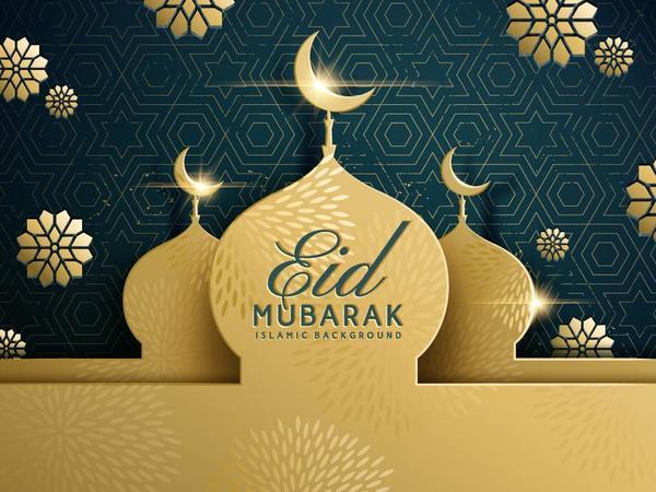 Mubarak golden Eid dark bâtiment