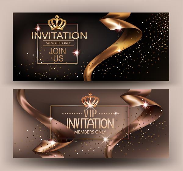 vip Karte gold elegant Einladung Bänder
