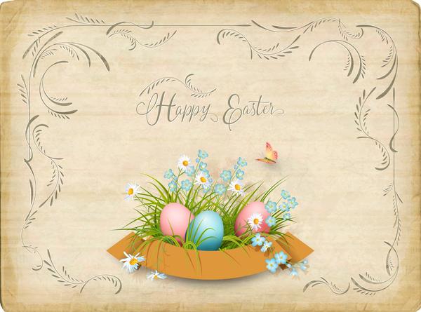 parchemin élégant Pâques carte