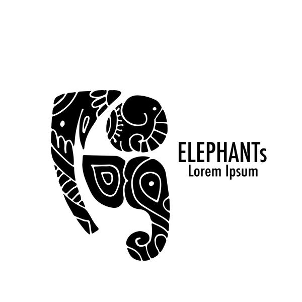 logos elephant decorative floral