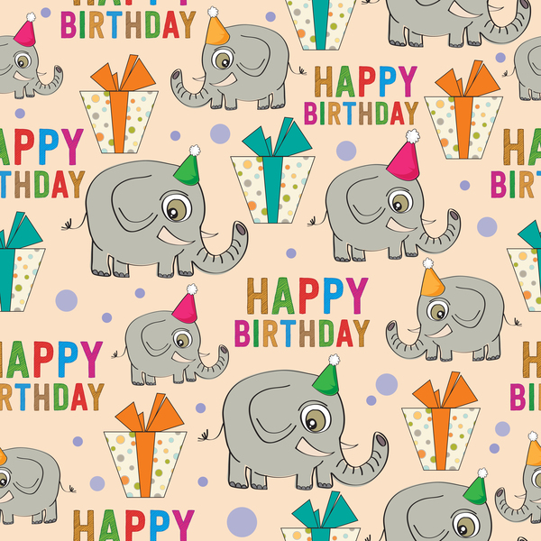nahtlose Muster happy Geburtstag Elefant