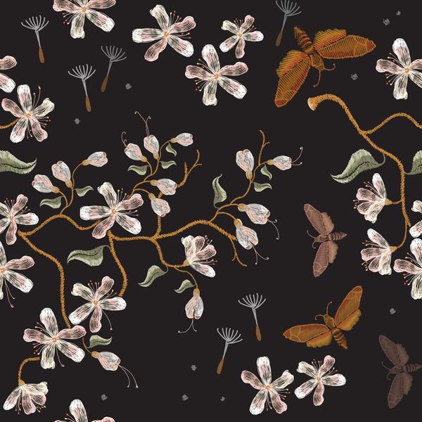花 刺繍 パターン シームレス