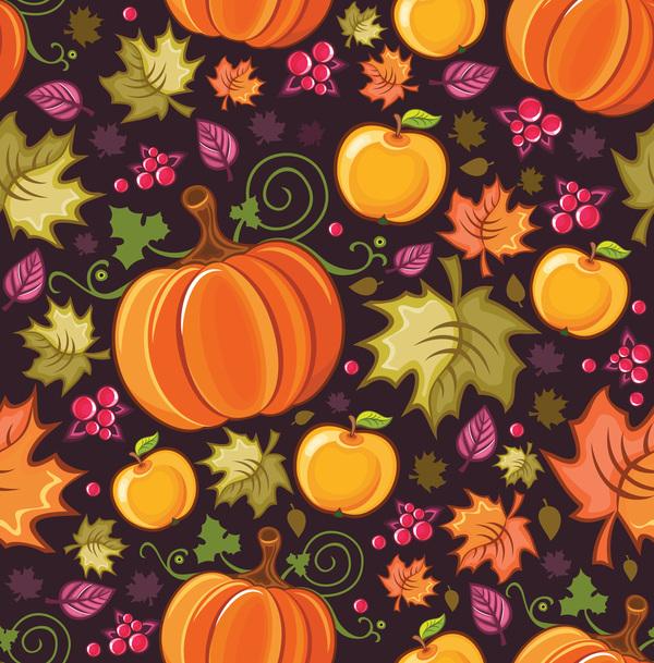 sans couture pattern fruits citrouille automne
