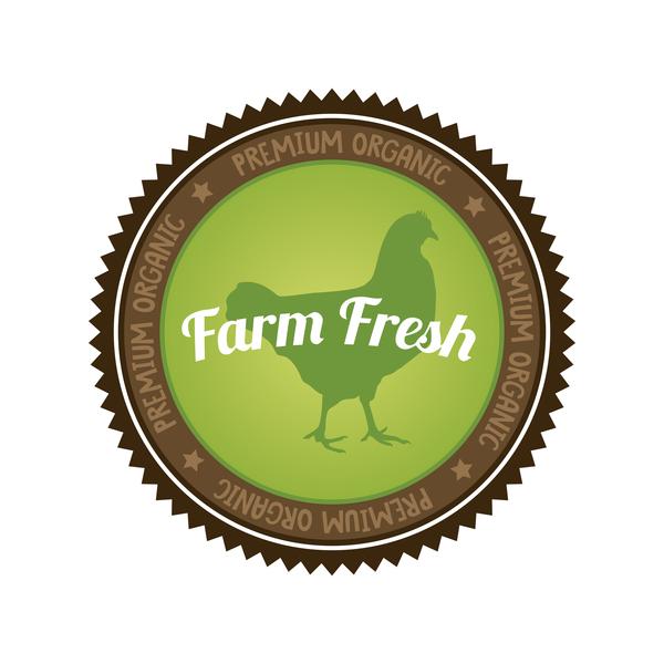 organic fresh food farm badge