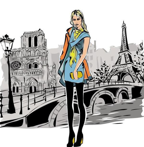 手 女の子 ファッション タワー 、エッフェル