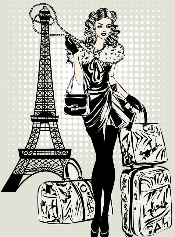 tour de la jeune fille mode main Eiffel