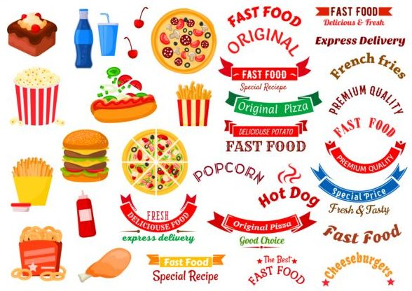 snabb mat logotyp etiketter banners