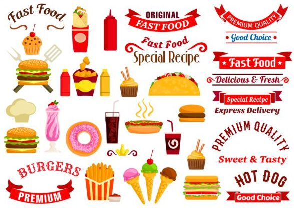 logo labels food fast banners