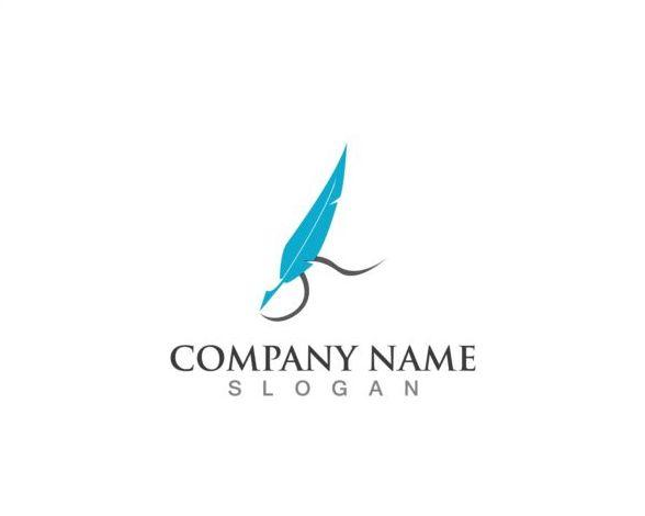 、会社、羽ペンのロゴ、