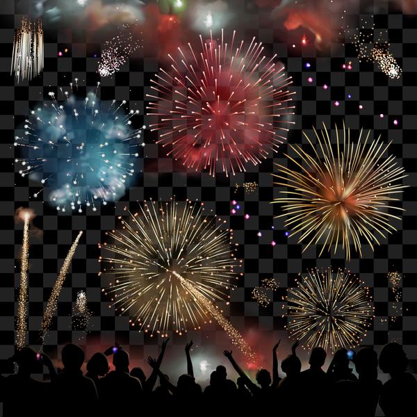 silhouette Menschen Feuerwerk