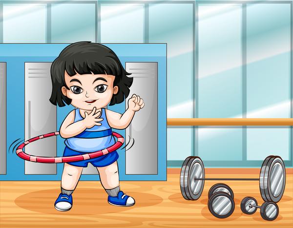 tecknad personer fitness