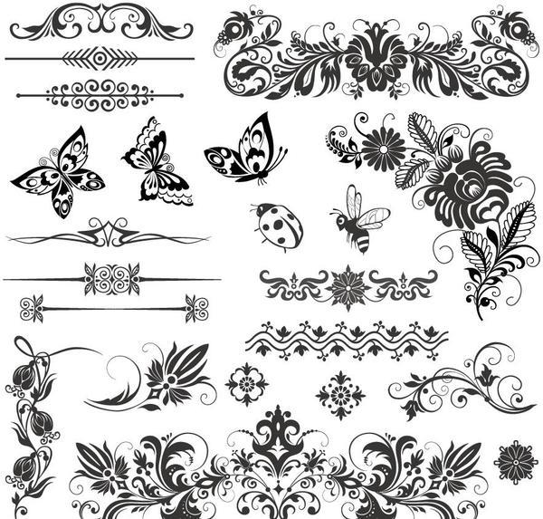 ornamenti floreali Insetti