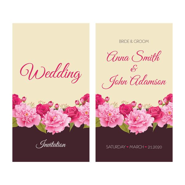 Retro-Schriftart Karten Hochzeit Einladung Blumen