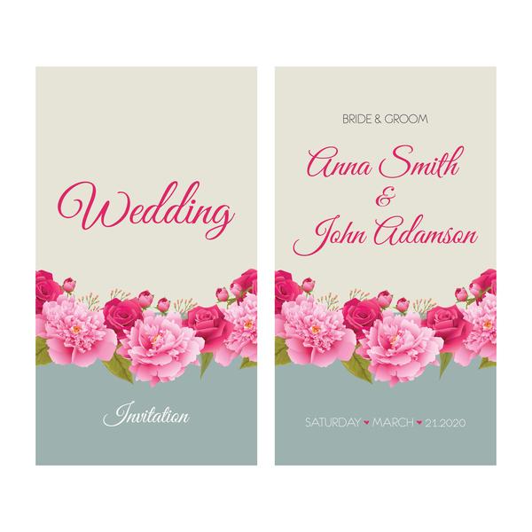 Retro teckensnitt kort inbjudan bröllop Blomma