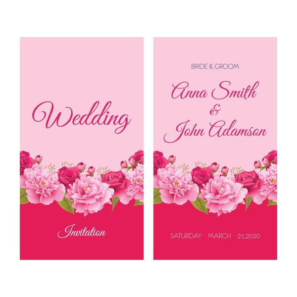Blume Hochzeit Einladung Karte Retro Vektor 05 Welovesolo