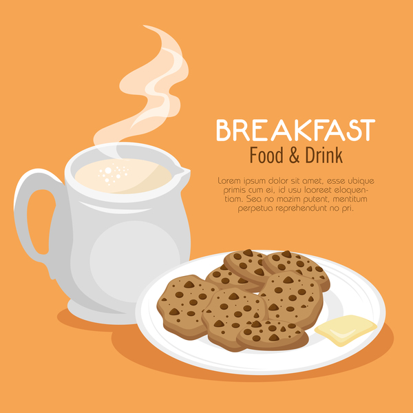 poster petit déjeuner nourriture boissons