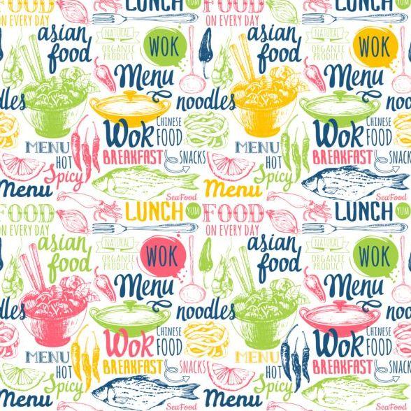 seamless pattern menu food
