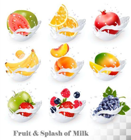 、フルーツ、ミルク、スプラッシュ