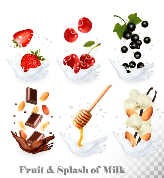 splash milk fruit