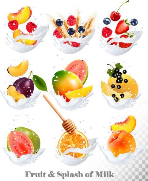 splash milk fruit