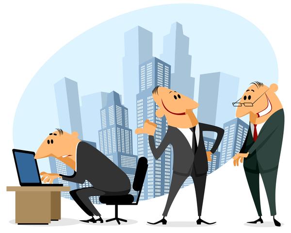 ufficio personale professionale divertente cartone animato
