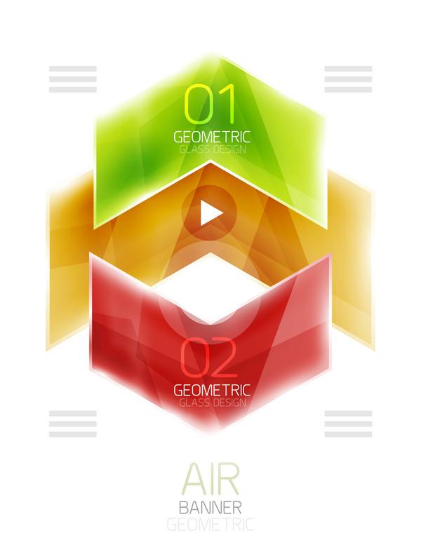 、幾何学的、ガラス、インフォ グラフィック、オプション