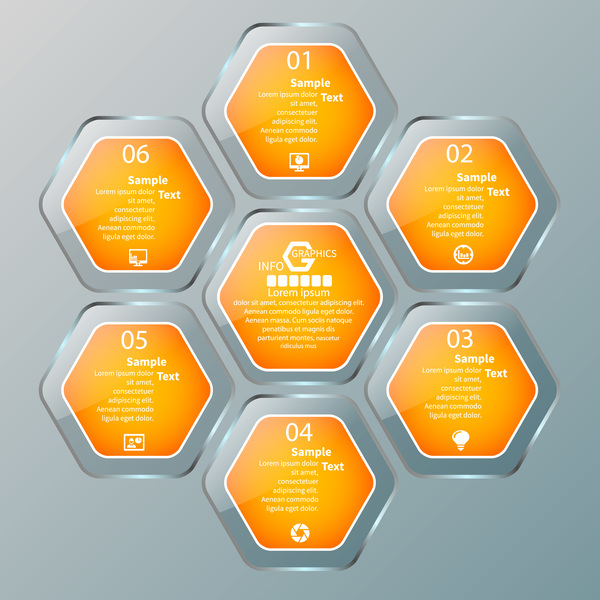 Sechseck Infografik glatt Glas