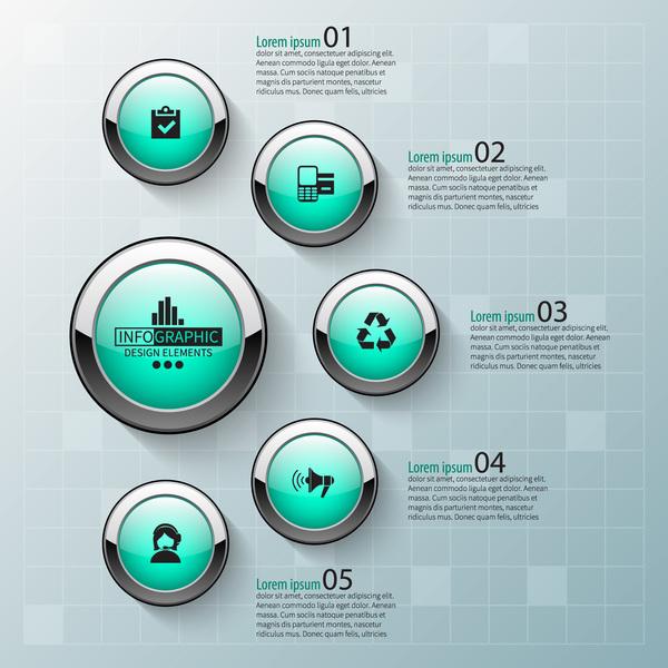 Schaltfläche rund Infografik glatt Glas