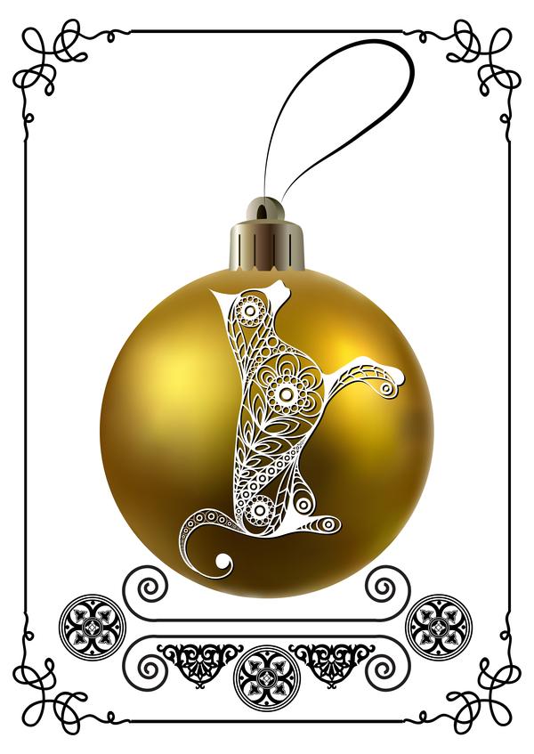 palla Nuovo Natale golden cornice cane anno