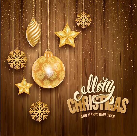 trä julgranskulor jul Gyllene