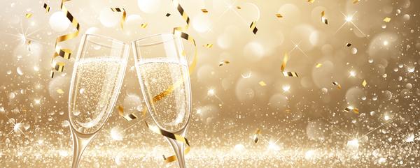 Weihnachten Konfetti golden Glas