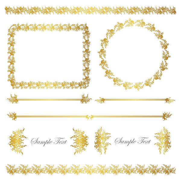 golden frame decor Calligraphy font borders