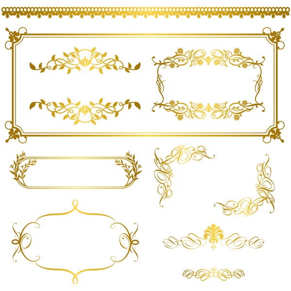 golden frame decor Calligraphy font borders