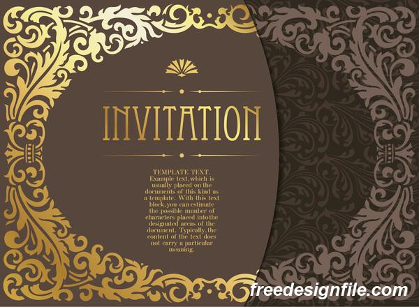 装飾 招待状 レトロフォント スタイル ゴールデン カード