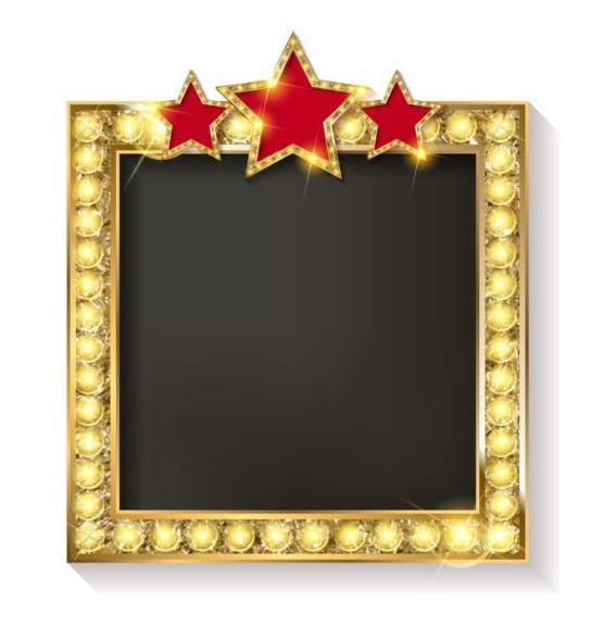 Cornice Doro Diamante Con Stella Rossa E Bianca Sfondo Vettoriale