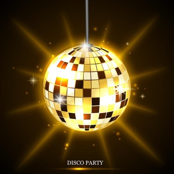 neon golden disco ball