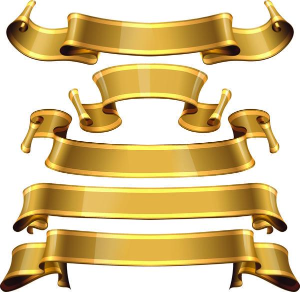 vague ruban or des bannières