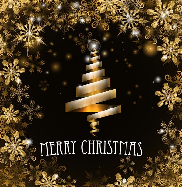ruban or Noel neige arbre