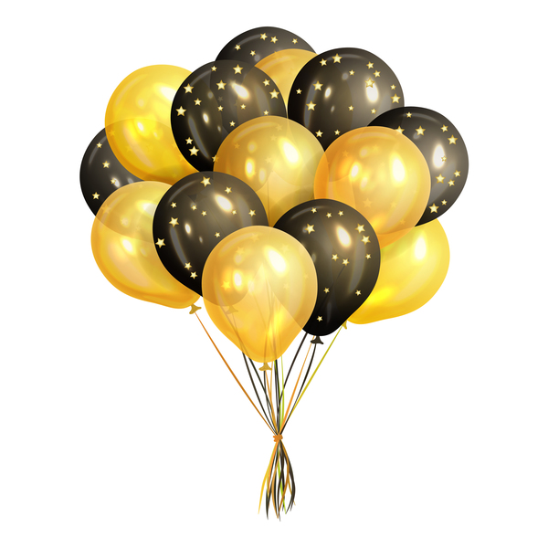 Svart stjärnor golden ballong